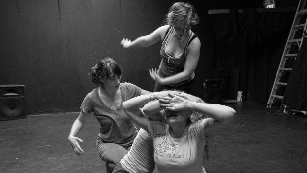 (Clockwise from top) Katie Murphy, Kimberly Gilbert, Erin White and Eleni Grove rehearse a scene for Enter Ophelia, distracted.