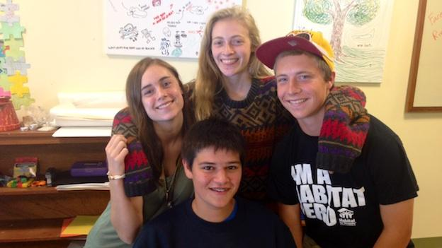 Teens at River Road Unitarian Universalist Congregation gather to share experiences about their OWL classes. OWL, short for 'Our Whole Lives' is a Sex Ed class that takes place during Sunday school. From left, clockwise: Clare Hardin, Rosie Cohen, Andrew White and Aaron Weinstein.