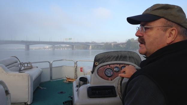 Jim Foster of the Anacostia Watershed Society steering on the river.
