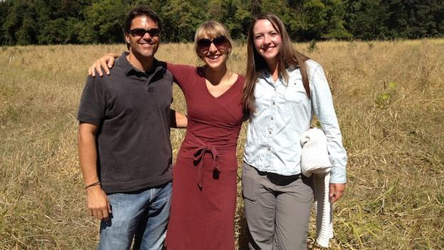 Smithsonian scientists John Parker, Susan Cook-Patton and intern Emily DuBois in the BiodiversiTree field.