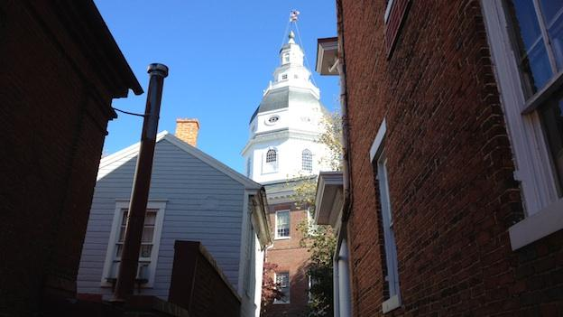 A view of the Maryland Statehouse dome, where it's said the ghost of Thomas Dance can sometimes be seen looking out over the city at night.