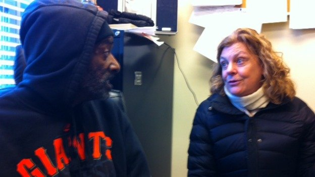 Montgomery County homeless shelter resident Anthony Frasier and MCCH executive director Susie Sinclair Smith have a moment.