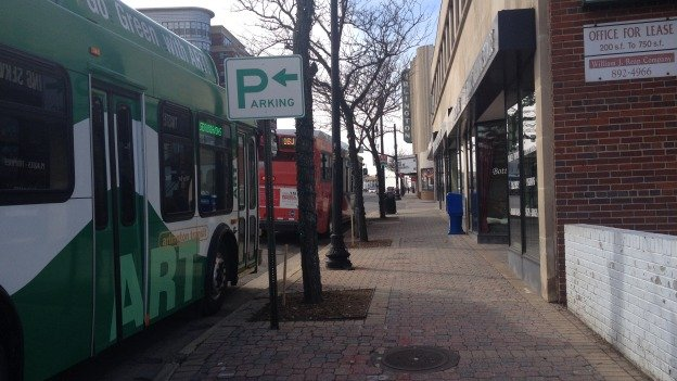 Buses line up on Columbia Pike, where Arlington County officials want to install a $310 million streetcar.