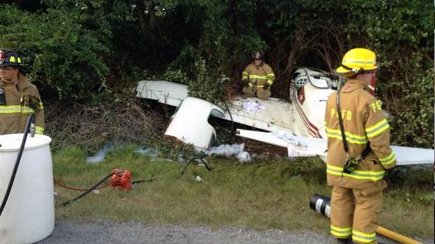 Prince George's Fire and EMS responded to the scene of the small plane crash, pumping out 40 gallons of aviation fuel.
