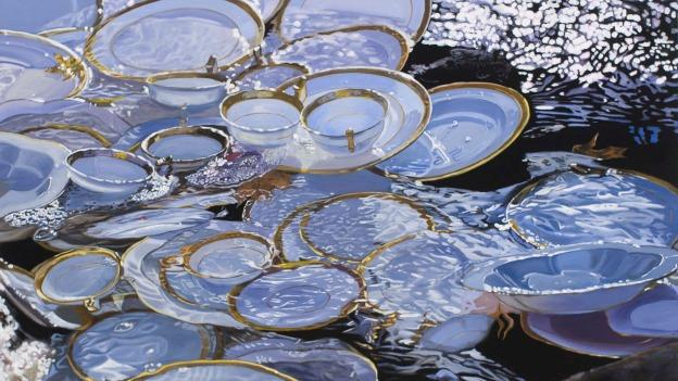 """Plates in the River"" by Leslie Parke is one of the paintings featured in Beach China."