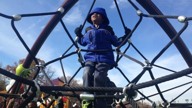 The renovated playground in Ward 7's Benning Park had a castle-and-dragon theme.