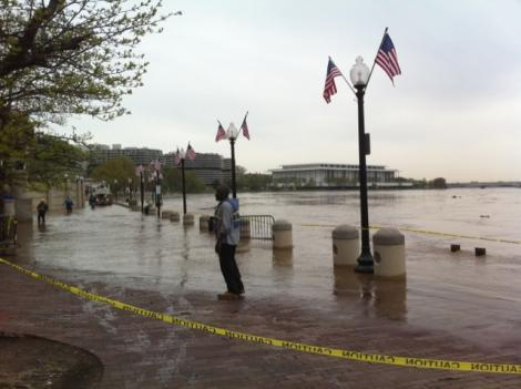 The Potomac River flooded into the Washington Harbor complex in Georgetown in April.