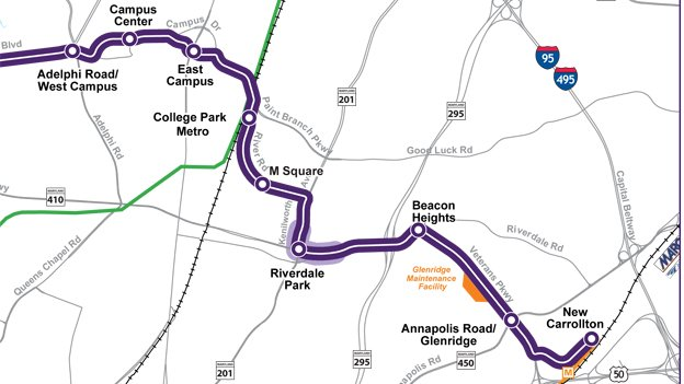 A detail of the proposed Purple Line path from New Carrollton and College Park.