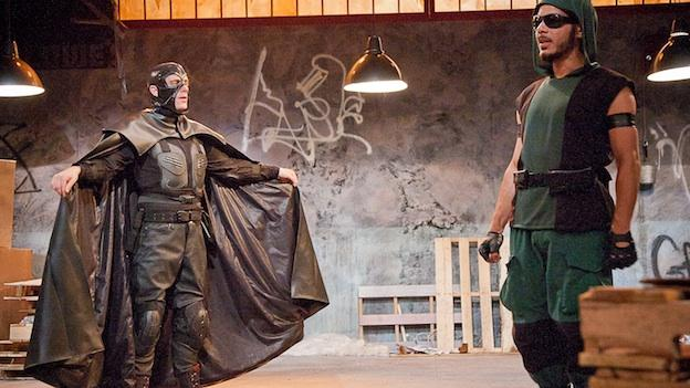 Sensei (Jon Hudson Odom) challenges Nightlife's (Andres C. Talero) superhero code.