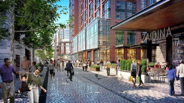 A rendering of what one part of the finished Wharf will look like from the street. It features restaurants, offices, living spaces, and lots of people.
