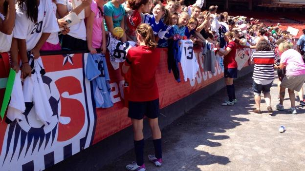 Fans came to RFK Stadium armed with jerseys and soccer balls for team members to sign.
