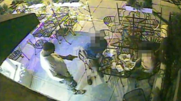 The man robbed the couple as they dined outside a Logan Circle restaurant.