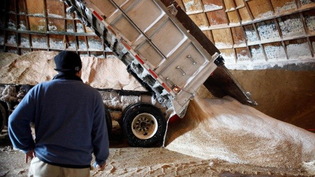 Salt being distributed to the Potomac Road salt dome, where road crews picked it up to salt the roads in Washington during an early-February storm.