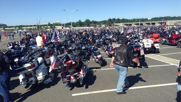 Thousands of motorcycles lined up at the Pentagon before the 2013 Rolling Thunder Ride through Washington, D.C.