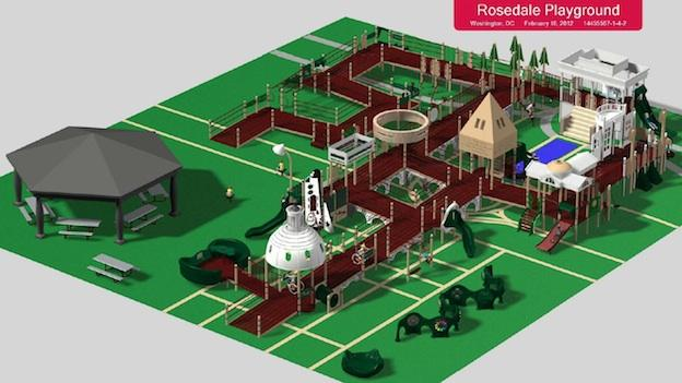 Rendering of Rosedale Community Center's playground
