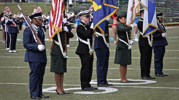 Honor Guard working with other services at Howard University homecoming.