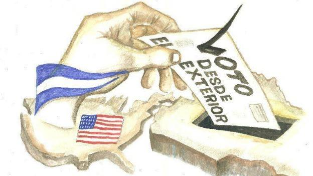 An image promoting the Salvadoran vote from abroad.