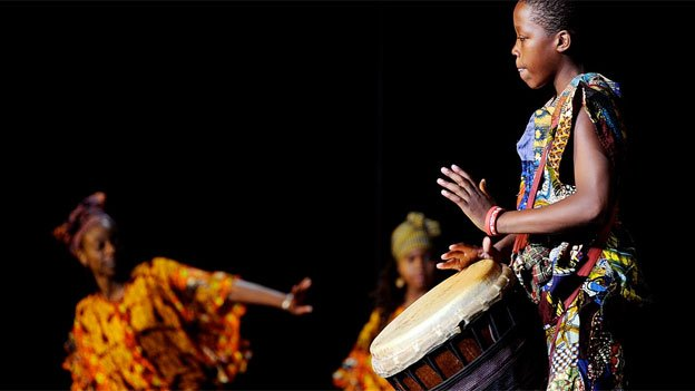 The Sankofna Dance Theater performs some traditional African drum beats.