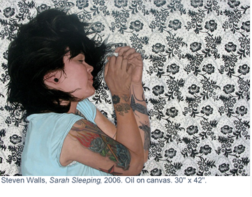 """Sarah Sleeping"" is an oil on canvas painting by Steven Walls, one of nine in his upcoming solo exhibit in Alexandria."
