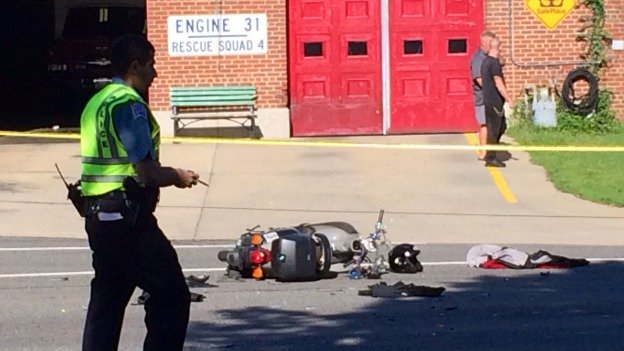 A woman on a moped was hit by a truck in Chevy Chase this morning. She later died from her injuries.