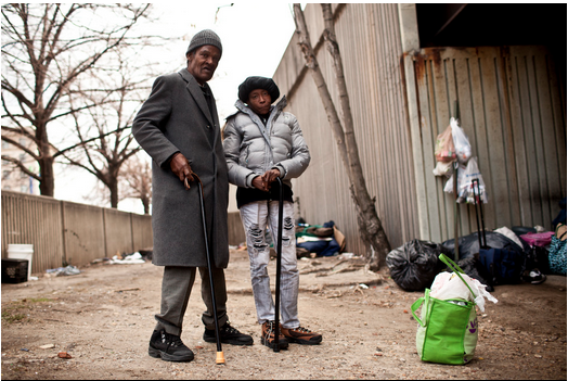 Linwood Hearne, 64, and his wife, Evelyn, stand near Interstate 83 in Baltimore where they have slept on and off for the past four years. According to the local nonprofit Health Care for the Homeless (HCH), a growing percentage of homeless patients nationally are 50 or older, with complex mental and physical conditions.