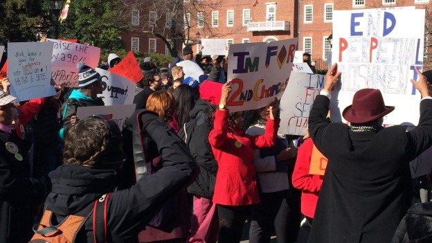 Advocates rallied for the Second Chance Act, which would seal records of convictions for non-violent misdemeanors from public view after a certain period of time.