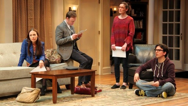 (L to R) Laura C. Harris, Tom Story, Katie deBuys and Alexander Strain perform in Seminar at Round House Theatre in Bethesda.