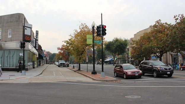 The service lane runs parallel to Connecticut Avenue from Macomb to Ordway Streets in Cleveland Park.