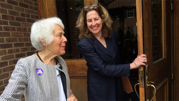 Former Alexandria Mayor and state Sen. Patsy Ticer, left, leaves City Hall with Silberberg on June 9, the day of the Democratic primary. Ticer and Silberberg have been an outspoken opponents of the waterfront plan.