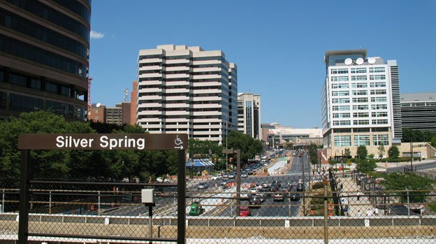 The view of downtown Silver Spring, Md., from the platform of its Metro station.