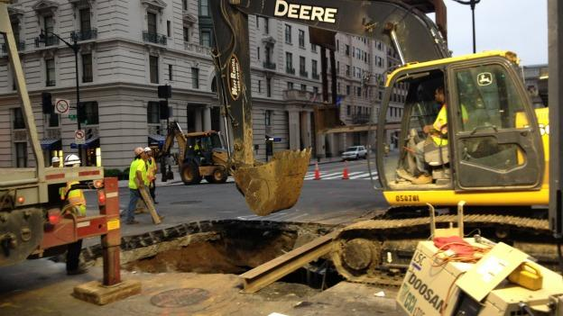 The sinkhole couldn't be in a worse place, located along the busy 14th Street in downtown D.C.