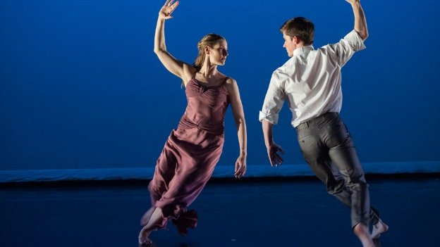 "Mark Morris Dance Group dancers Jenn Weddel and Spencer Ramirez perform ""Jenn and Spencer."""
