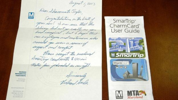 Sarles sent a hand-written congratulations note and a $100 SmarTrip card.