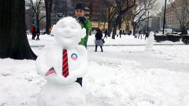 Thanks, Snobama! Just one of the many creative snowpeople built in Dupont Circle today.