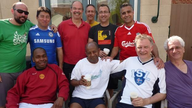 This group of men have been meeting on Sunday mornings for soccer scrimmages for about 15 years.
