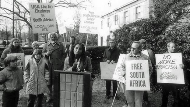 Protesters gathered outside the South African Embassy on Massachusetts Avenue in early 1985.