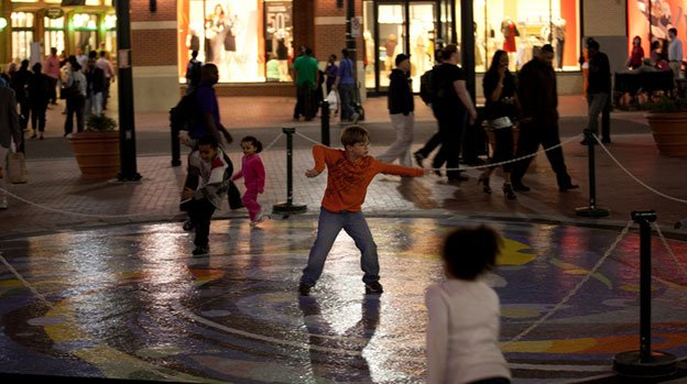 A scene at twilight in the town square of Silver Spring, Md.