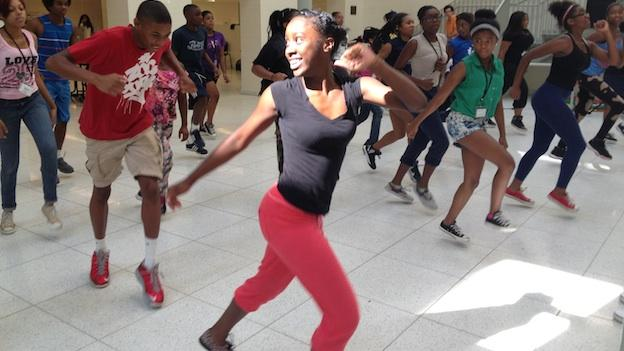 Students taking part in the Washington Performing Arts Society's Summer Step camp at Anacostia High School.