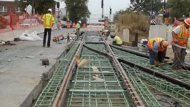 Work continues on what will eventually be a 2.5-mile long streetcar line along H Street and Benning Road NE.