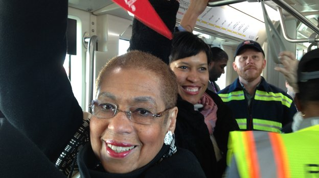 Del. Eleanor Holmes Norton, left, and D.C. Mayor Muriel Bowser were all smiles Saturday morning during the inaugural ride of the streetcar on H Street NE.
