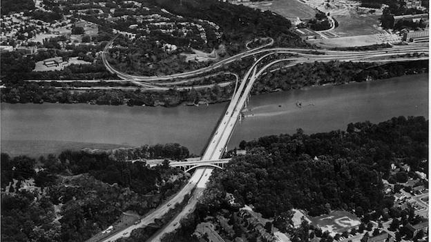 The photo above shows the planned Three Sisters Bridge, which was halted by court order in 1970. The bridge would have extended I-66 into Georgetown, paving over a section of Glover-Archbold Park.