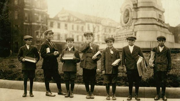 Group of gum vendors and news-boys, Pennsylvania Avenue and 7th Sts in 1912.
