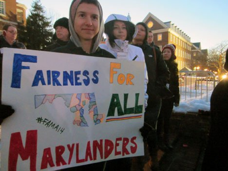 Johns Hopkins University student Ben Panico rallies support for the Fairness for All Marylanders Act during a recent Lobby Day in Annapolis.