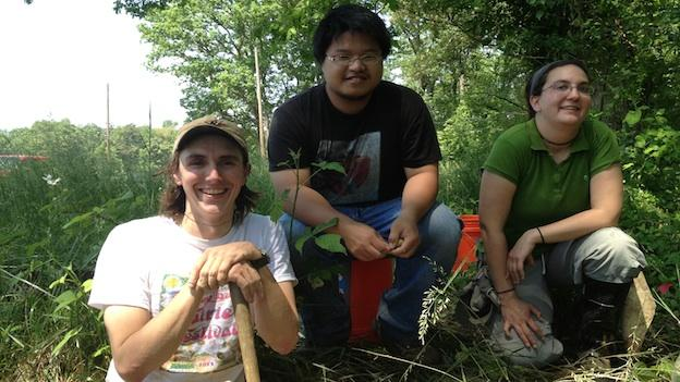 Ryan Adams, Jack Wang, and Heather Hall are members of the University of MD's champion soil judging team.