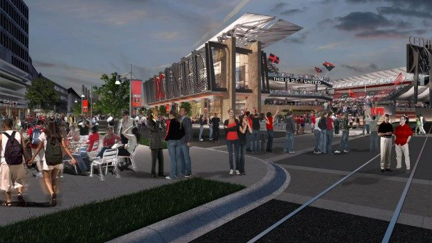 A rendering of the proposed D.C. United stadium at Buzzard Point.