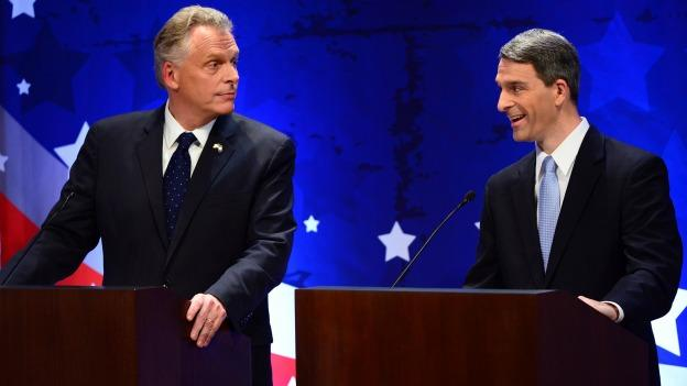 Virginia gubernatorial candidates Democrat Terry McAuliffe, left, and Republican Attorney General Ken Cuccinelli debate Wednesday, Sept. 25, 2013, in McLean, Va.