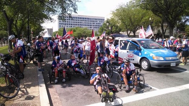 The American and Canadian veterans preparing for the Independence Day parade in downtown D.C.