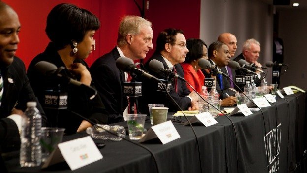 The eight D.C. mayoral candidates at WAMU's debate on February 26.