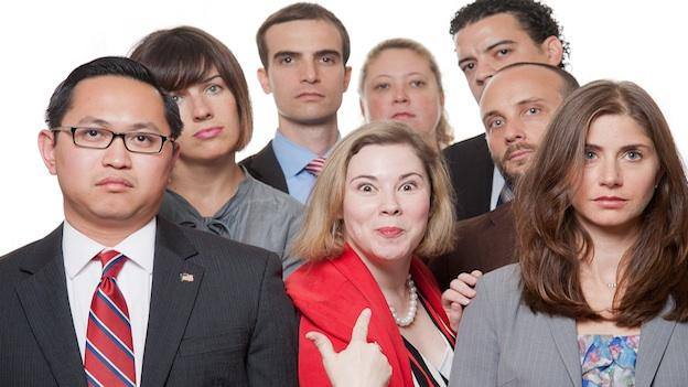 (L to R, clockwise) Karen Lange (red jacket), Dan Miller, Jon Chesebro, Archie Cubarrubia, Jules Duffy and Laura Spadanuta take turns trying to win audience's hearts and minds in POTUS Among Us at Washington Improv Theater.