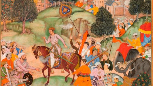 Battle at Thaneshwar (1590-95), a bifolio from the Akbarnama, was composed by Basawan and painted by Asi. It depicts yogis deep in battle.